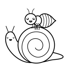 cute ant insect and snail kawaii characters vector image