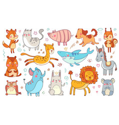 Cute hand drawn animals friendship animal funny vector