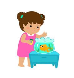 cute little girl feeding fish in aquarium cartoon vector image