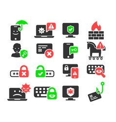 Cyber security and threat icons set vector
