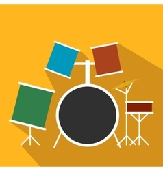 Drum set flat icon vector