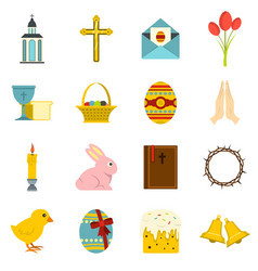Easter items icons set in flat style vector
