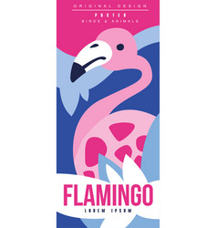 flamingo birds and animals poster original design vector image
