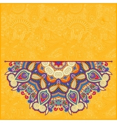 Floral yellow pattern in ukrainian oriental ethnic vector