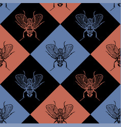 fly blue and red seamless pattern vector image