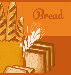 Fresh and delicious breads vector