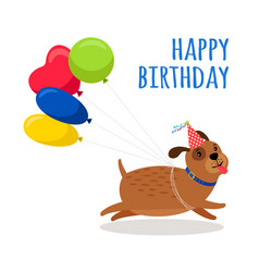 Funny dog birthday card with balloons vector