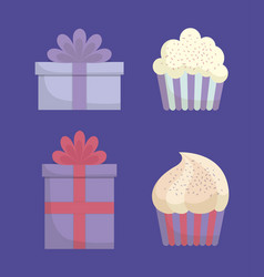 Gift box and cupcakes design vector