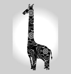 Giraffe mandala boho style vector