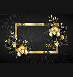 Golden banner with black orchids vector