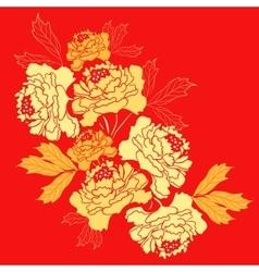 Golden Peony Flower vector image