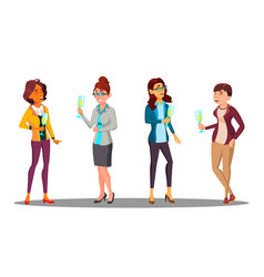 group of happy women with glasses of champagne in vector image