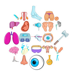 Gynecologist icons set cartoon style vector
