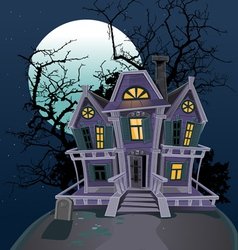 Halloween witch magic house vector image