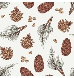 Hand drawn wreath and pine cone winter seamless vector