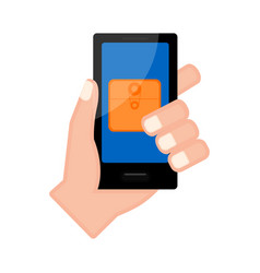 Hand holding a smartphone with a folder icon vector