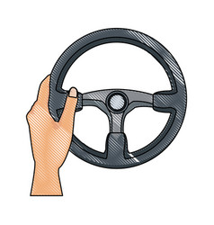 hand with steering wheel car auto control icon vector image