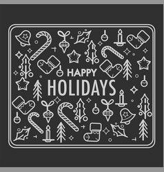 happy holiday of christmas sketch of symbols vector image