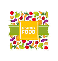 healthy food banner template square frame with vector image