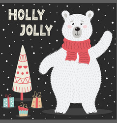 holly jolly greeting card with a cute polar bear vector image
