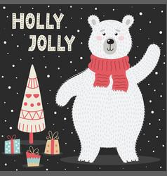 holly jolly greeting card with a cute polar bear vector image