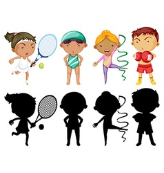 Kids doing different sports set with silhouette vector image