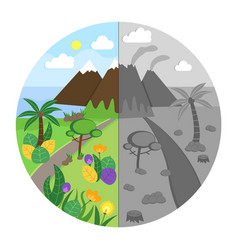 Landscape in color and gray vector