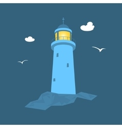 Lighthouse at sea vector