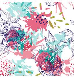 Line sketch peonies seamless pattern vector