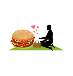 lover fast food man and hamburger on picnic guy vector image vector image