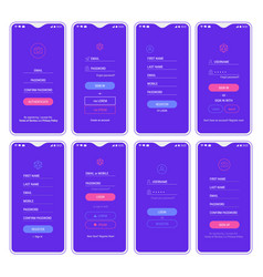 mobile app ui sign in and sign up screens mockup vector image