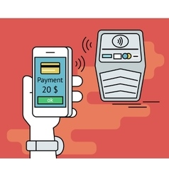 mobile payment via smartphone nfc vector image