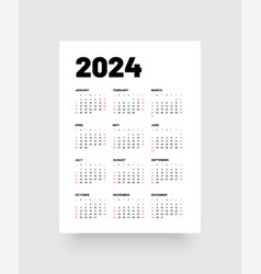Monthly calendar for 2024 year week starts on vector