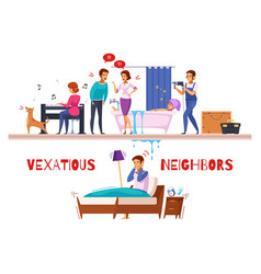 Neighbors relations cartoon composition vector