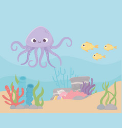 octopus fishes life coral reef cartoon under the vector image
