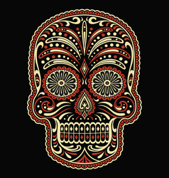 ornate two color day dead sugar skull vector image