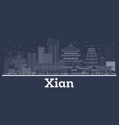 Outline xian china city skyline with white vector