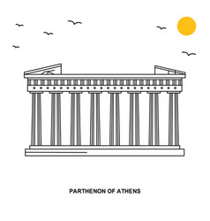 Parthenon of athens monument world travel natural vector