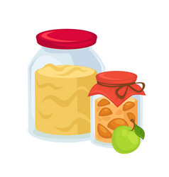 pickled apples and big jar of sweet jam vector image