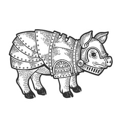pig in knight armor sketch engraving vector image