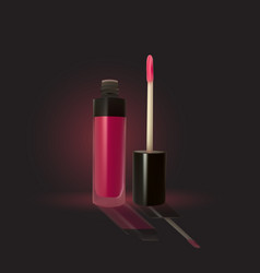 Pink lip gloss on a dark background vector