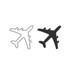 plane flat and linear icons set elements for vector image