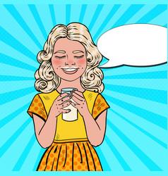 pop art happy girl drinking milk vector image