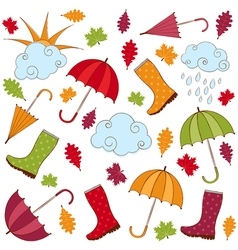Rainy Autumn Set vector
