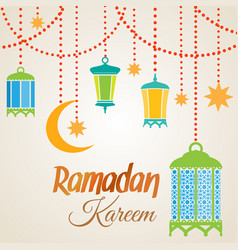 ramadan kareem lantern lamps vector image vector image