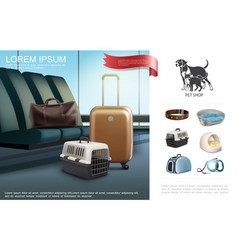 Realistic travel with pets template vector