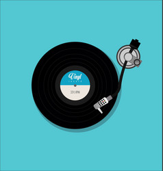 record player retro design on blue background vector image
