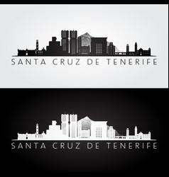 Santa cruz de tenerife skyline and landmarks vector