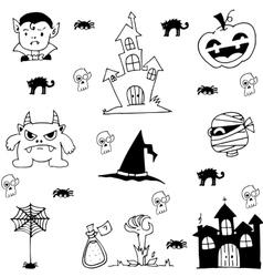 Scary element halloween in doodle vector