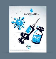 Scheduled vaccination theme presentation flyer vector